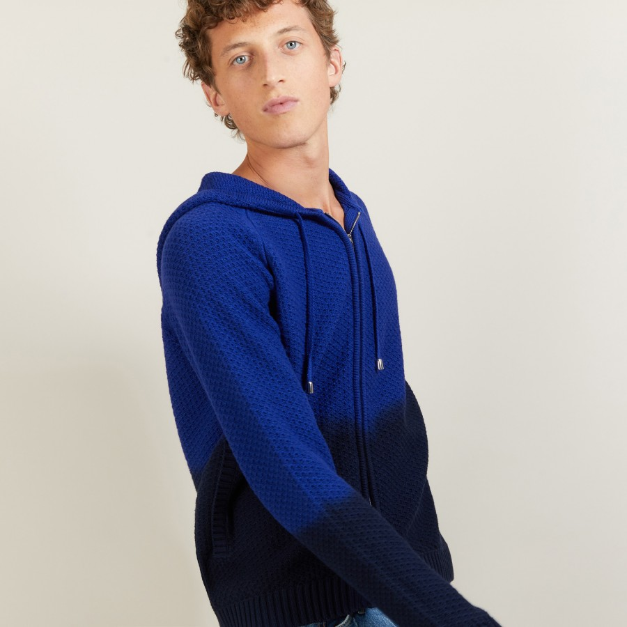 Gilet à capuche en coton et lin - Damon 6922 altitude/noir - 03 Bleu foncé