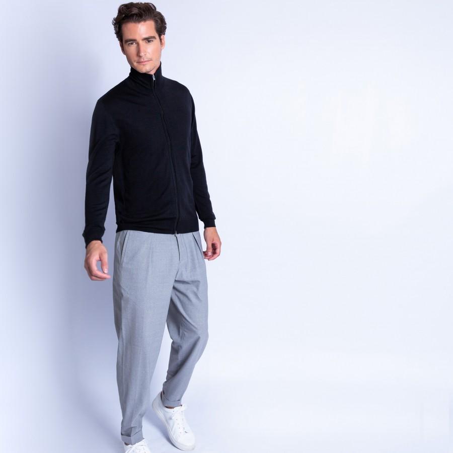 Gilet 100% laine col montant zippé 6110 noir - 01 Noir