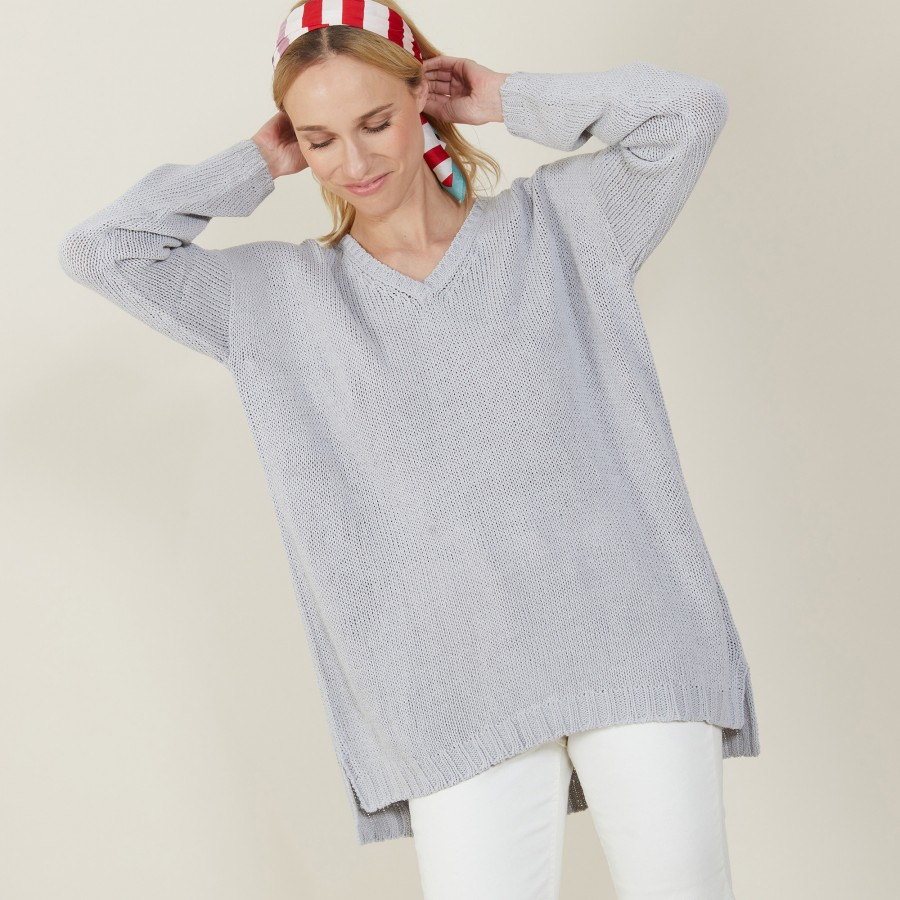 Grand pull col v en grosse maille - Balata 7213 givre - 11 Gris clair