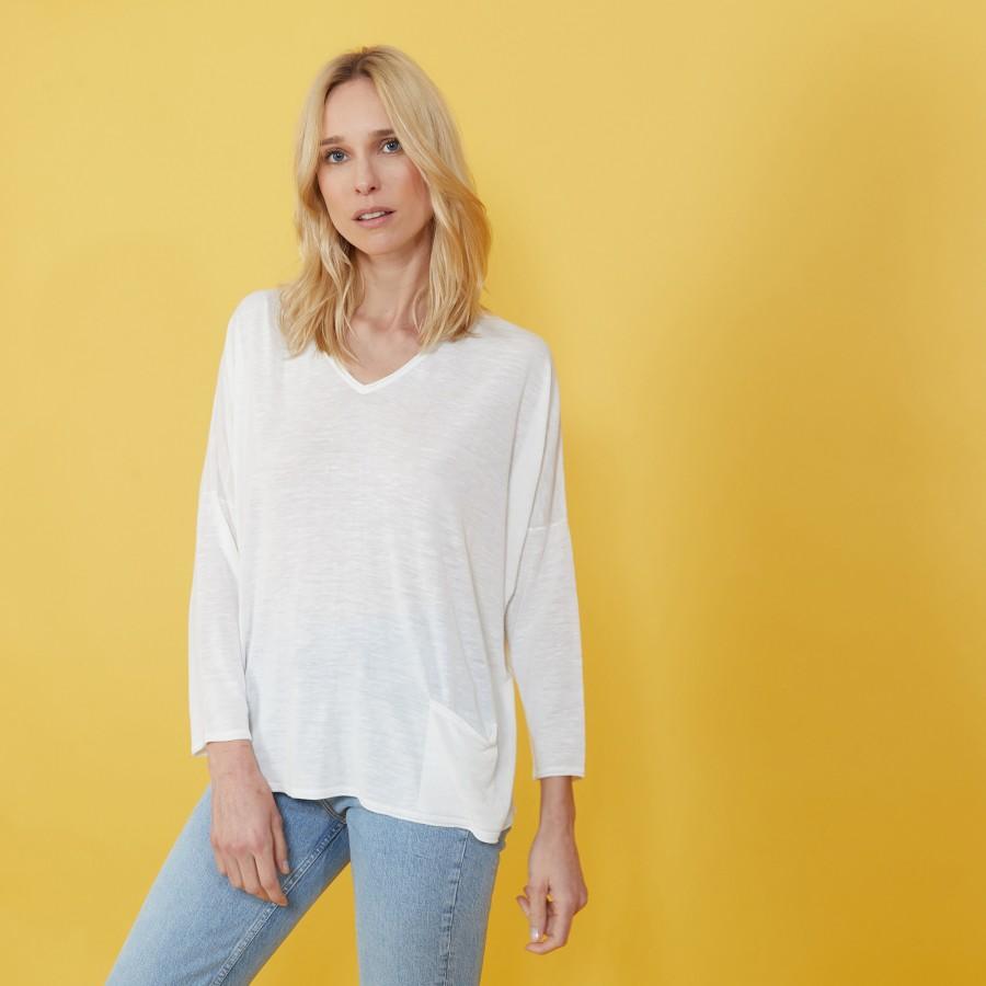 T-shirt ample en lin flammé - Balou 7200 blanc - 02 Blanc