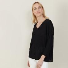 T-shirt ample en lin flammé - Balou 7210 noir - 01 Noir