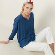 T-shirt ample en lin flammé - Balou 7241 corsaire - 06 Bleu moyen