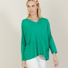 T-shirt ample en lin flammé - Balou 7250 veronese - 22 Vert moyen