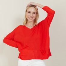 T-shirt ample en lin flammé - Balou 7280 ecarlate - 52 Rouge