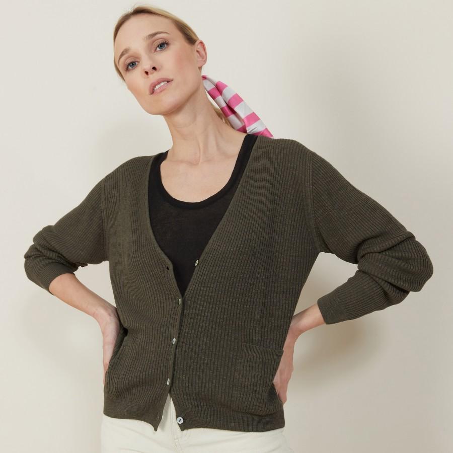 Slub linen cardigan with pockets - Beauté