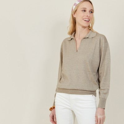 Linen cashmere sweater with polo neck - Bilbao