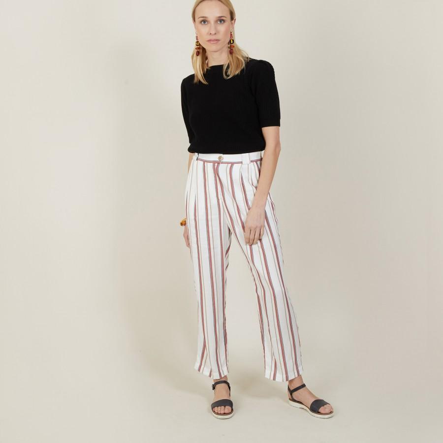 Pantalon rayé à poches - Mali 7398 rayures - 02 Blanc