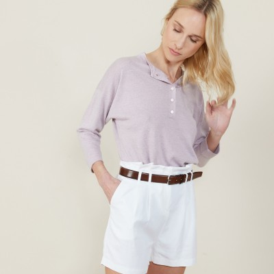 Cashmere linen sweater with button-down collar - Naza