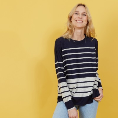 Two-tone striped cashmere linen sweater - Nerja