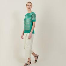 T-shirt en lin cachemire à rayures bicolores - Naria 7319 veronese/sahara - 22 Vert moyen