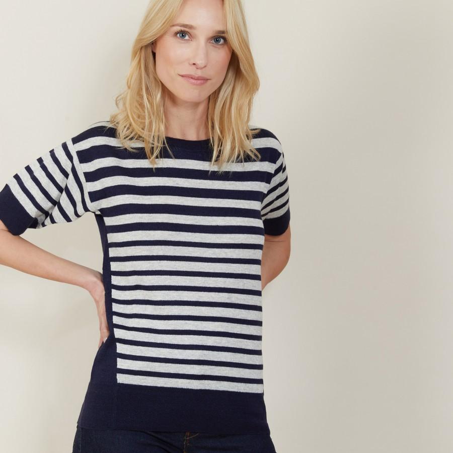 T-shirt en lin cachemire à rayures bicolores - Naria 7321 marine/givre - 05 Bleu marine