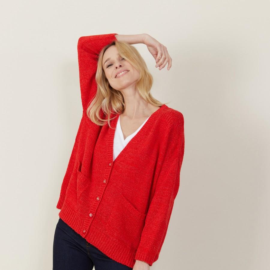 Grand cardigan à poches en grosse maille - Marilou 7280 ecarlate - 52 Rouge