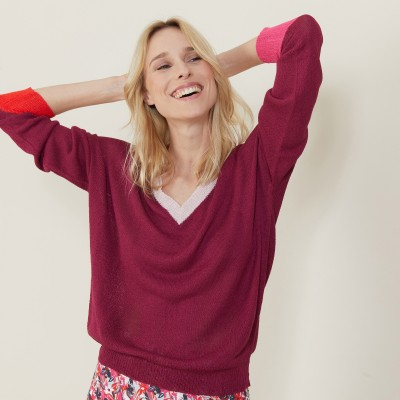 Loose V-neck sweater front and back - Naelie