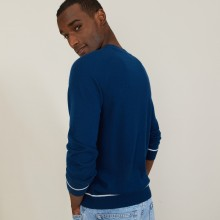 Two-tone round neck sweater in light cashmere - Percy