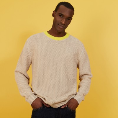 Two-tone sweater in large organic cotton - Pacome