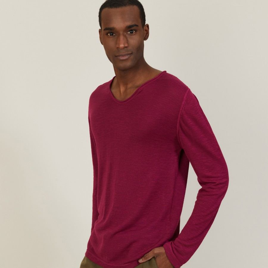 T-shirt col tunisien en lin flammé - Blayne 7282 rubis - 51 Bordeaux