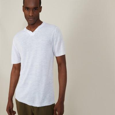 T-shirt col tunisien en lin flammé - Baraka