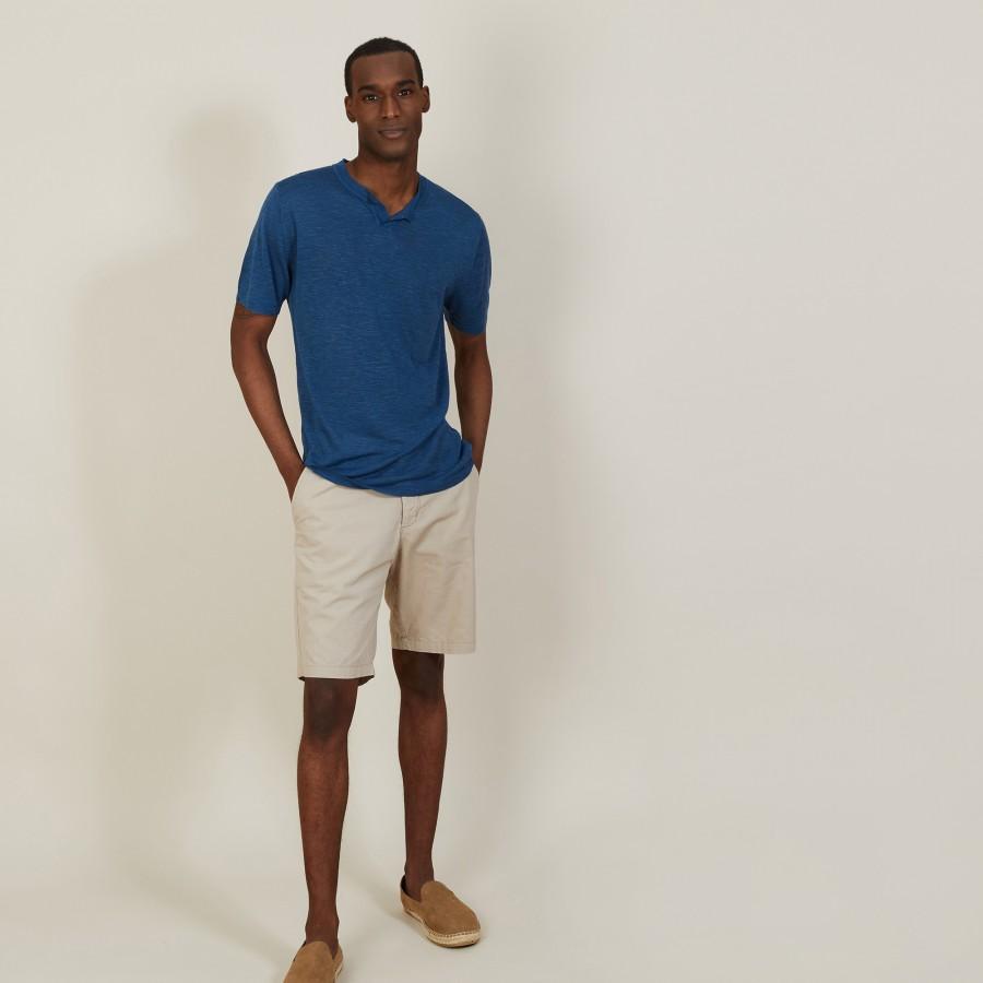 T-shirt col tunisien en lin flammé - Baraka 7241 corsaire - 06 Bleu moyen