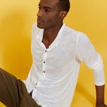 Chemise boutonné en lin flammé - Blason 7200 blanc - 02 Blanc
