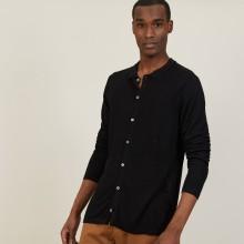 Chemise boutonné en lin flammé - Blason 7210 noir - 01 Noir