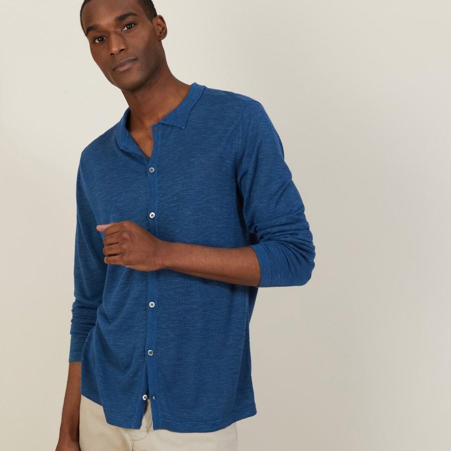 Chemise boutonné en lin flammé - Blason 7241 corsaire - 06 Bleu moyen