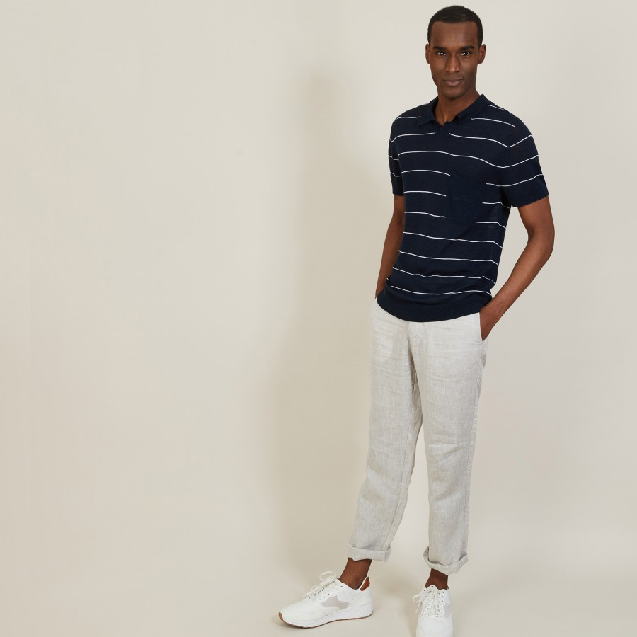 Polo bicolore en lin flammé - Pierre 7335 marine/blanc - 02 Blanc