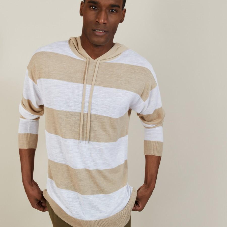Two-tone hoodie in slub linen - Philip