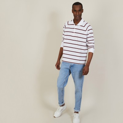 Long-sleeved striped cotton polo shirt - Pavel
