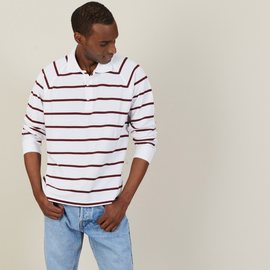 Polo en coton manches longues à rayures - Pavel 7360 blanc/rubis/sahara - 02 Blanc