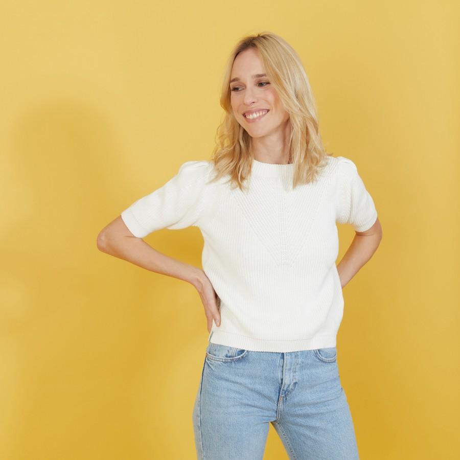 T-shirt en coton bio grosse maille - Marie 7200 blanc - 02 Blanc