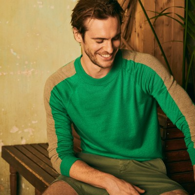 Two-tone round neck sweater in cashmere linen - Perry