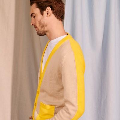 Two-tone cardigan in large organic cotton - Pierra