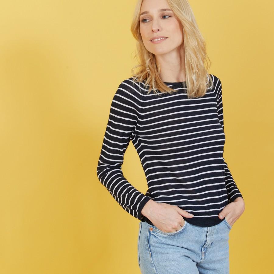 Two-tone slub linen sweater - Nadege