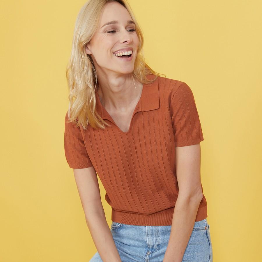 T-shirt col polo en coton sec - Nina 7230 epice - 46 Marron clair