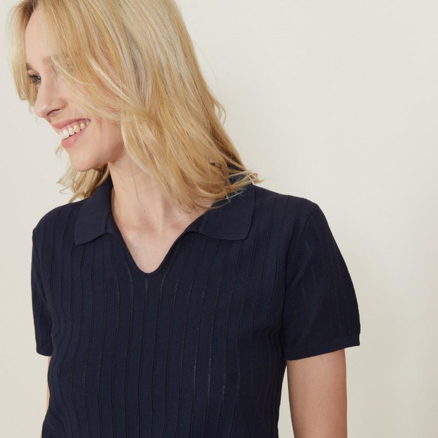 T-shirt col polo en coton sec - Nina 7240 marine - 05 Bleu marine