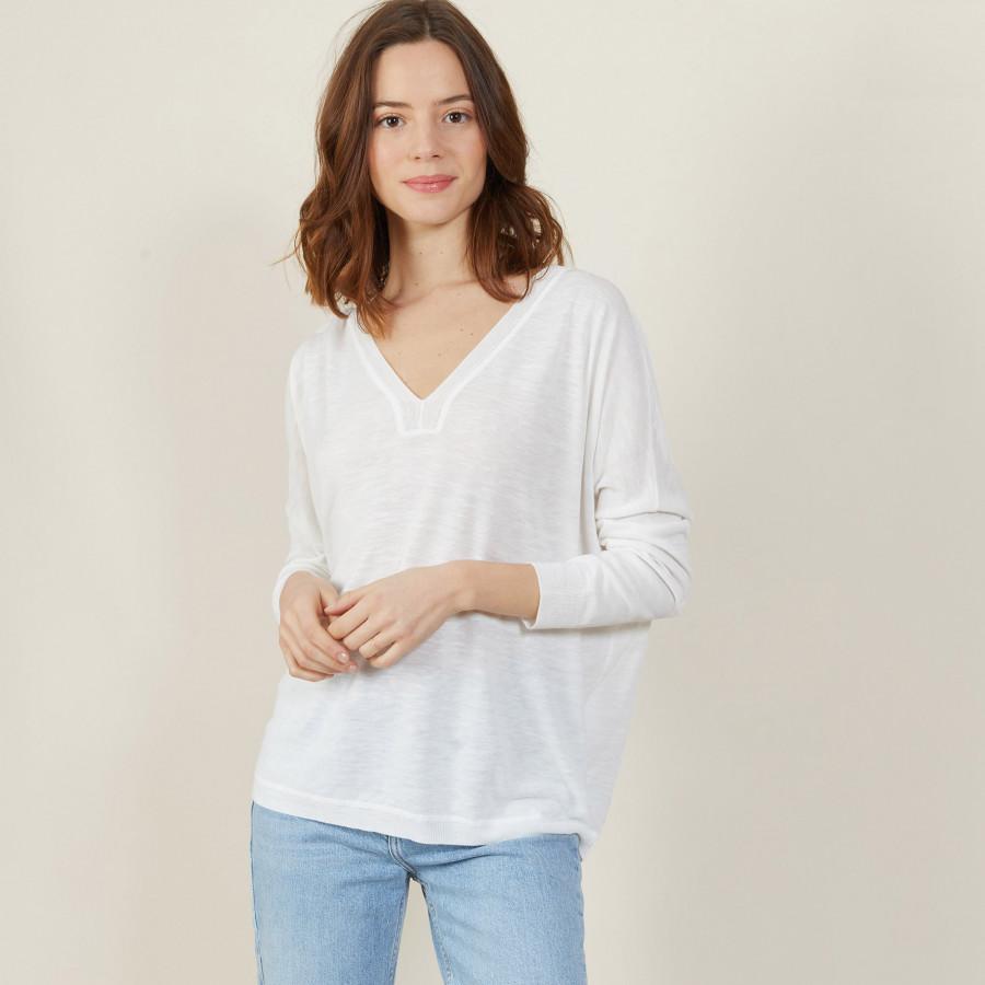 T-shirt ample col v en lin flammé - Beja