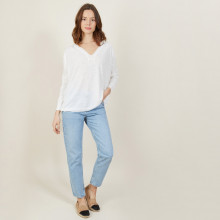 T-shirt ample col v en lin flammé - Beja 7200 blanc - 02 Blanc