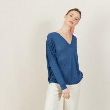 T-shirt ample col v en lin flammé - Beja 7241 corsaire - 06 Bleu moyen