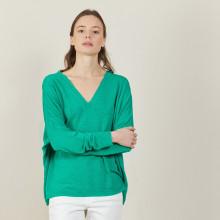 T-shirt ample col v en lin flammé - Beja 7250 veronese - 22 Vert moyen