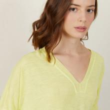 T-shirt ample col v en lin flammé - Beja 7260 mimosa - 08 Jaune