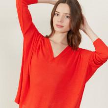 T-shirt ample col v en lin flammé - Beja 7280 ecarlate - 52 Rouge