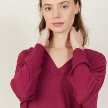 T-shirt ample col v en lin flammé - Beja 7282 rubis - 51 Bordeaux
