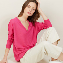 T-shirt ample col v en lin flammé - Beja 7283 corolle - 91 Fuchsia