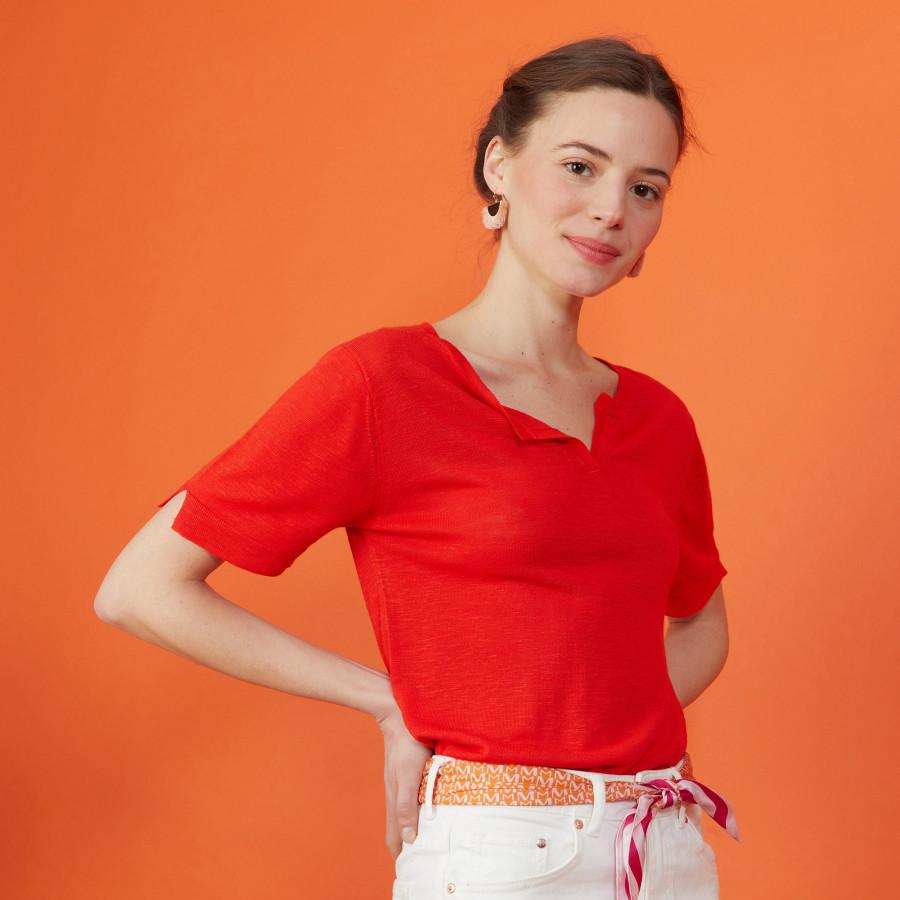 Slub linen t-shirt with Tunisian collar - Boheme
