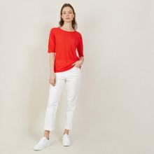 T-shirt col rond en lin flammé - Bonnie 7280 ecarlate - 52 Rouge