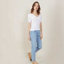 T-shirt col V en lin flammé - Bountie 7200 blanc - 02 Blanc