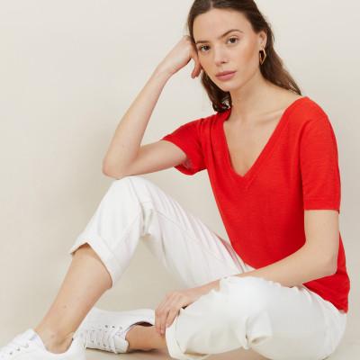 T-shirt col V en lin flammé - Bountie