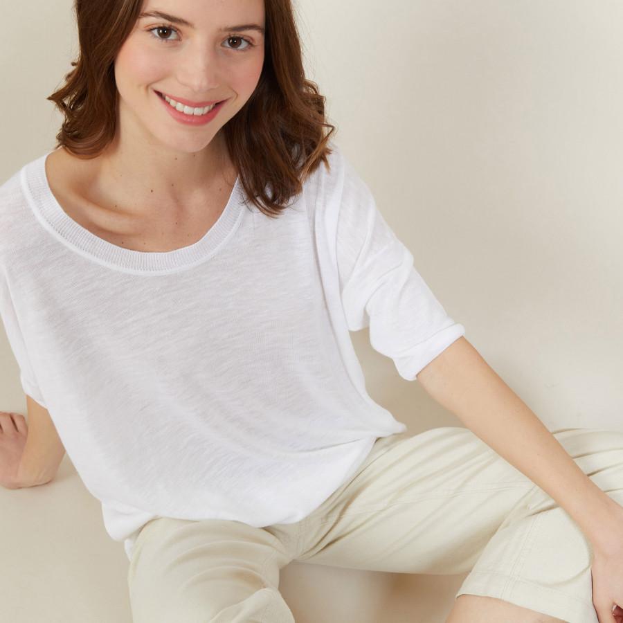 T-shirt ample col rond en lin flammé - Mairena 7200 blanc - 02 Blanc