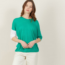 T-shirt ample col rond en lin flammé bicolore - Mairena bis 7336 veronese/blanc - 22 Vert moyen