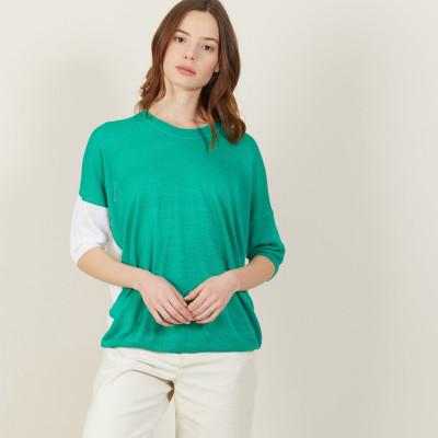 T-shirt ample col rond en lin flammé bicolore - Mairena bis